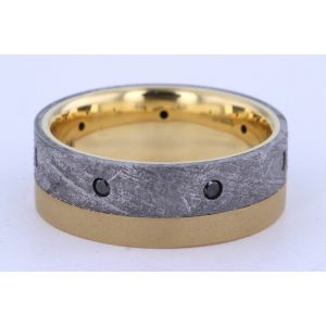 Lashbrook 8mm Meteorite, Diamond and Gold Ring