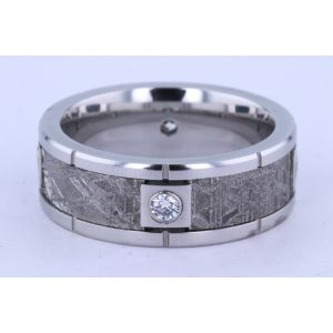 Lashbrook 8mm Meteorite and Diamond Ring