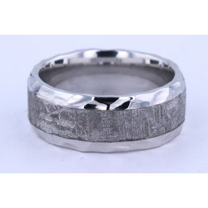 Lashbrook 9mm Cobalt and Meteorite Hammered Ring