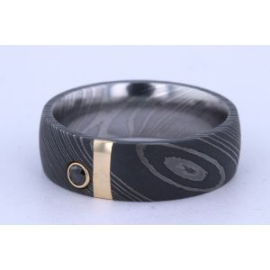 Lashbrook 7mm Damascus Steel Yellow Gold and Black Diamond Ring