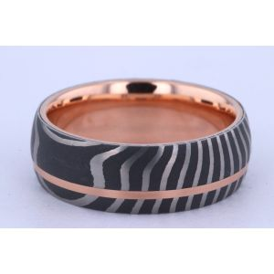 Lashbrook 8mm Damascus Steel and Gold Ring