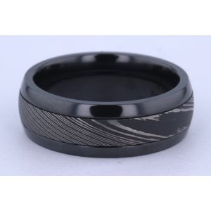 Lashbrook 8mm Zirconium and Damascus Steel Ring