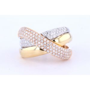 Tri-color Micro Pave Cross Over Diamond Ring  23-02180