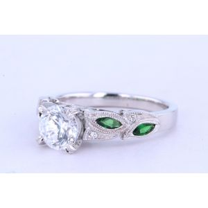 Kirk Kara Pave Engagement Ring with Emeralds  63-K155TDR