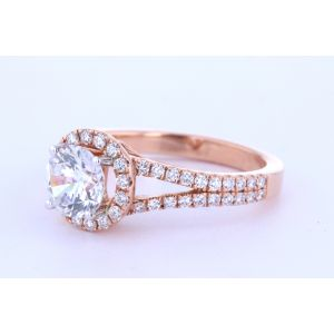 Split Band Diamond Halo Ring