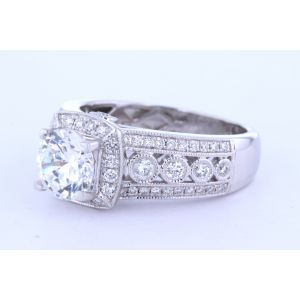Wide White Gold Engagement Ring Setting