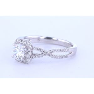 Twisted Band Square Halo Engagement Ring
