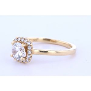Yellow Halo Solitaire Ring