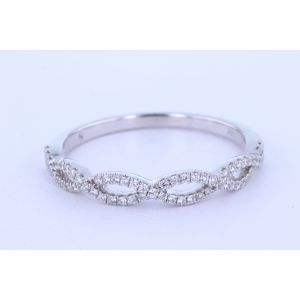 White Gold Micropave Twist Wedding Band