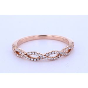 Rose Gold Micropave Twist Wedding Band