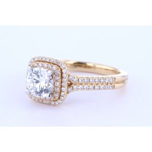 Yellow Gold Double Diamond Halo Engagement Ring