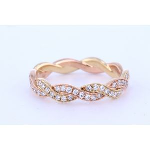2-Toned Micropave Tight Twist Wedding Band