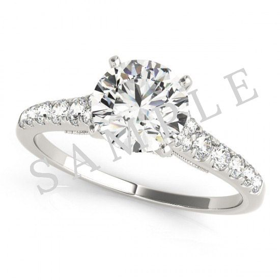Pave Engagement Ring-14k White Gold